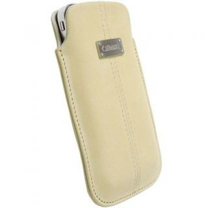 Krusell Luna Pouch XXL - leather case for HTC Sensation, Galaxy S2, LG Optimus and mobile phones (бежoв)