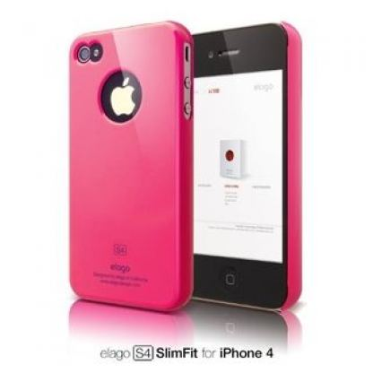 Elago S4 Slim Hot Pink Fit Case - поликарбонатов кейс за iPhone 4/4S (розов)