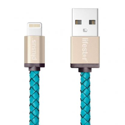 PlusUs LifeStar Handcrafted Lightning Cable - ръчно изработен сертифициран Lightning кабел за iPhone, iPad и iPod (1м.) (светлосин-златист)