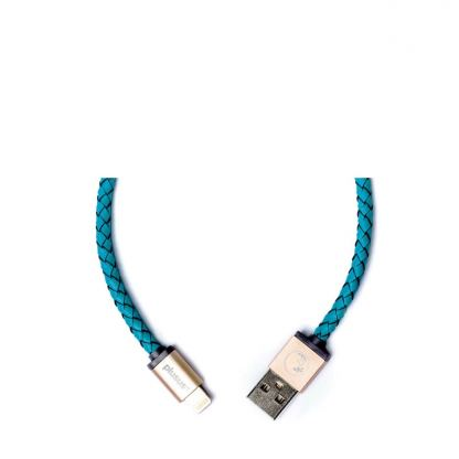 PlusUs LifeStar Handcrafted Lightning Cable - ръчно изработен сертифициран Lightning кабел за iPhone, iPad и iPod (1м.) (светлосин-златист) 2