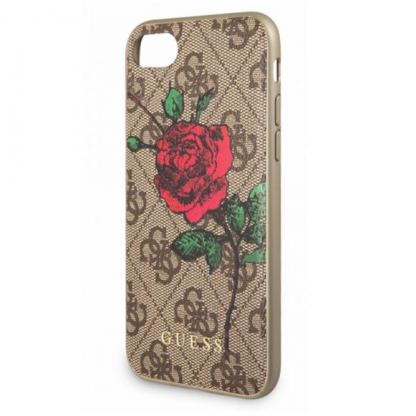 Guess Flower Desire Leather Hard Case - дизайнерски кожен кейс за iPhone 6, iPhone 6s, iPhone 7, iPhone 8 (кафяв)