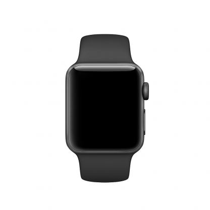 Apple 42mm Sport Band S/M & M/L - оригинална силиконова каишка за Apple Watch 42мм (черен) (Apple Box) (reconditioned) 3