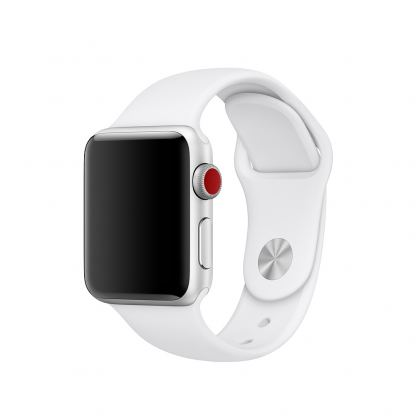 Apple 38mm Sport Band S/M & M/L - оригинална силиконова каишка за Apple Watch 38мм (бял) (Apple Box)