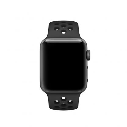 Apple Watch Nike+ 42mm Sport Band - оригинална силиконова каишка за Apple Watch 42мм (черен) (reconditioned) (Apple Box) 2