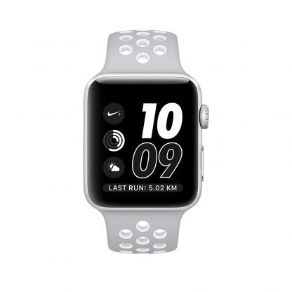 Apple Watch Nike+ 38mm Sport Band - оригинална силиконова каишка за Apple Watch 38мм (сив-бял) (reconditioned) (Apple Box) 3