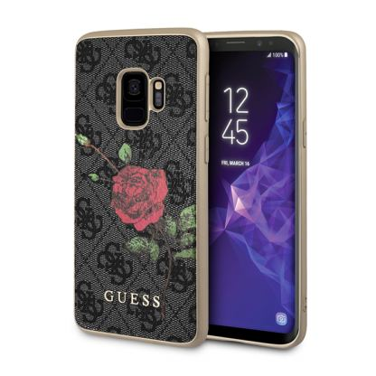Guess Flower Desire Leather Hard Case - дизайнерски кожен кейс за Samsung Galaxy S9 (сив)