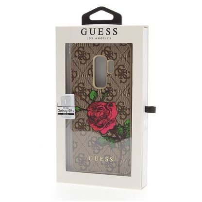 Guess Flower Desire Leather Hard Case - дизайнерски кожен кейс за Samsung Galaxy S9 Plus (кафяв) 4