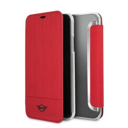 Mini Cooper Debossed Lines PU Leather Booktype Case - кожен калъф, тип портфейл за iPhone XS, iPhone X (червен)