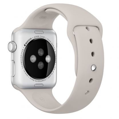 Apple 38mm Sport Band S/M & M/L - оригинална силиконова каишка за Apple Watch 38мм (сив) (reconditioned) (Apple Box)