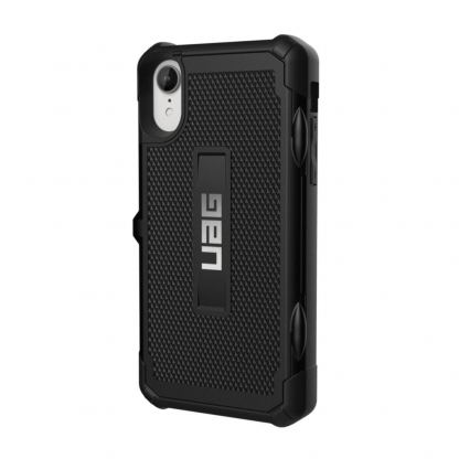 Urban Armor Gear Trooper Case - удароустойчив хибриден кейс с отделение за карти за iPhone XR (черен)