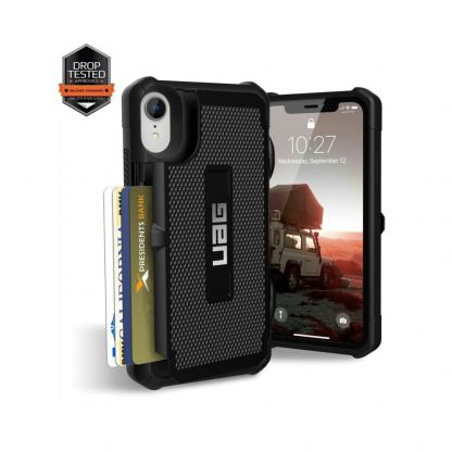 Urban Armor Gear Trooper Case - удароустойчив хибриден кейс с отделение за карти за iPhone XR (черен) 7
