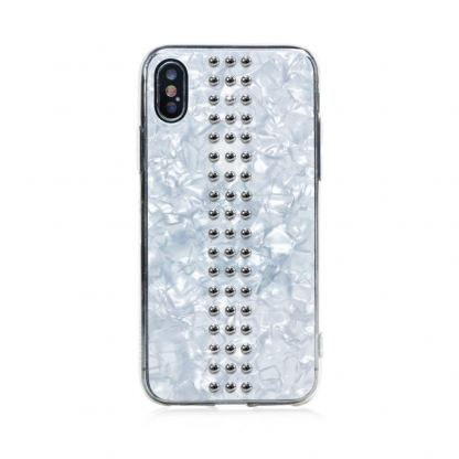 Bling My Thing Stripe TPU Chrome Swarovski - силиконов (TPU) калъф с кристали Сваровски за iPhone XS, iPhone X (бял) 2