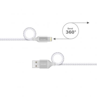 TeckNet P6010 Apple MFi Certified Lightning to USB Cable 10cm. - изключително здрав и качествен плетен Lightning кабел за iPhone, iPad, iPod с Lightning (10 см.) (сребрист) 3