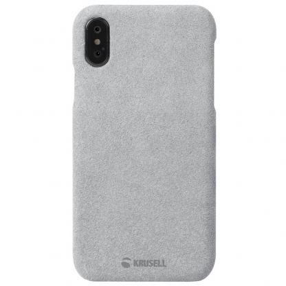Krusell Broby Cover Case - велурен кейс за iPhone XS, iPhone X (сив) 4