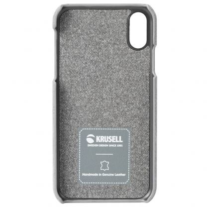 Krusell Broby Cover Case - велурен кейс за iPhone XS, iPhone X (сив) 5