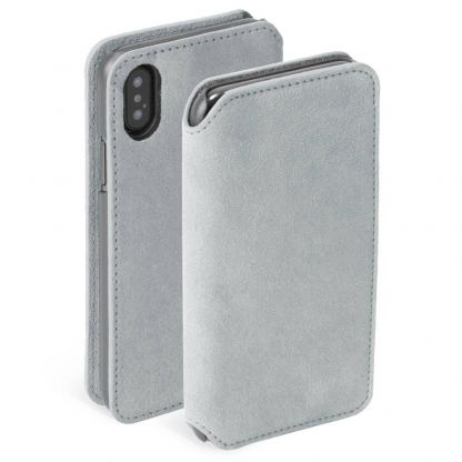 Krusell Broby 4 Card Slim Wallet Case - велурен калъф, тип портфейл за iPhone XS (сив)