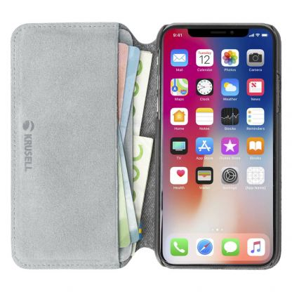 Krusell Broby 4 Card Slim Wallet Case - велурен калъф, тип портфейл за iPhone XS (сив) 5