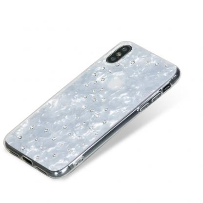 Bling My Thing Milky Way TPU Pure Brilliance Swarovski - силиконов (TPU) калъф с кристали Сваровски за iPhone XS, iPhone X (бял)