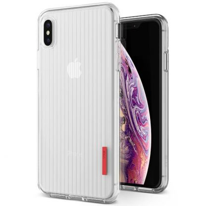Verus Crystal Fit Label Case - удароустойчив силиконов (TPU) калъф за iPhone XS Max (прозрачен)