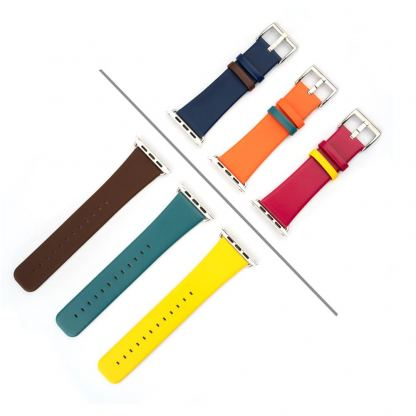 4smarts Leather Duett Wrist Band - кожена каишка за Apple Watch 42мм, 44 мм (лилав-розов)