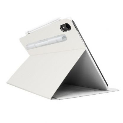 SwitchEasy CoverBuddy Folio Case - кожен кейс с поставка и отделение за Apple Pencil 2 за iPad Pro 12.9 (2018) (бял) 4
