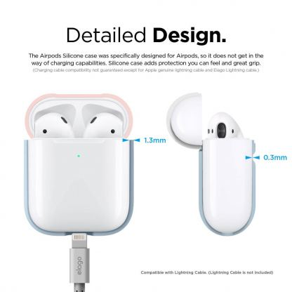 Elago Airpods Duo Silicone Case - силиконов калъф за Apple Airpods 2 with Wireless Charging Case (светлосин-розов) 6