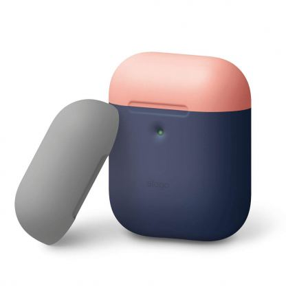 Elago Airpods Duo Silicone Case - силиконов калъф за Apple Airpods 2 with Wireless Charging Case (тъмносин-оранжев)