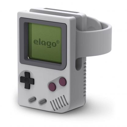Elago W5 Watch Stand - силиконова винтидж поставка в стила на Nintendo за Apple Watch (сив)