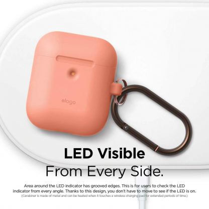 Elago Airpods Silicone Hang Case - силиконов калъф с карабинер за Apple Airpods 2 with Wireless Charging Case (оранжев) 4