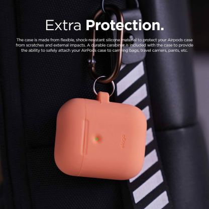 Elago Airpods Silicone Hang Case - силиконов калъф с карабинер за Apple Airpods 2 with Wireless Charging Case (оранжев) 7