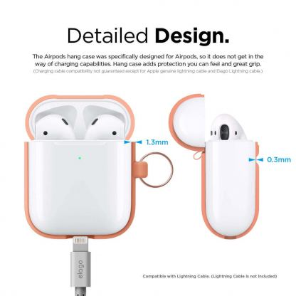Elago Airpods Silicone Hang Case - силиконов калъф с карабинер за Apple Airpods 2 with Wireless Charging Case (оранжев) 8