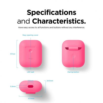 Elago Airpods Silicone Case - силиконов калъф за Apple Airpods 2 with Wireless Charging Case (розов-фосфор) 5