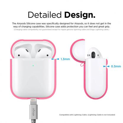 Elago Airpods Silicone Case - силиконов калъф за Apple Airpods 2 with Wireless Charging Case (розов-фосфор) 7