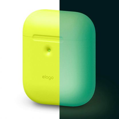 Elago Airpods Silicone Case - силиконов калъф за Apple Airpods 2 with Wireless Charging Case (жълт-фосфор)