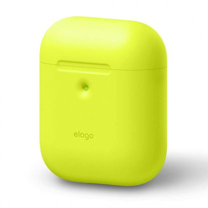 Elago Airpods Silicone Case - силиконов калъф за Apple Airpods 2 with Wireless Charging Case (жълт-фосфор) 2