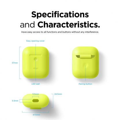 Elago Airpods Silicone Case - силиконов калъф за Apple Airpods 2 with Wireless Charging Case (жълт-фосфор) 6