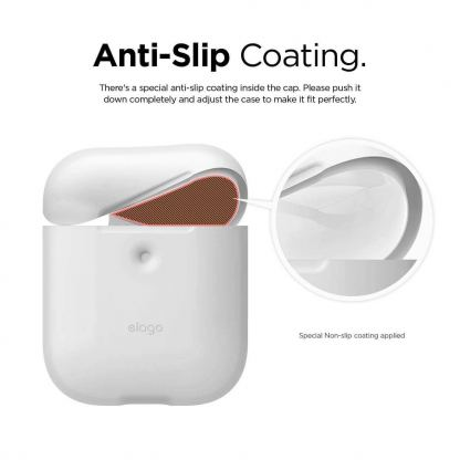 Elago Airpods Silicone Case - силиконов калъф за Apple Airpods 2 with Wireless Charging Case (бял-фосфор) 3