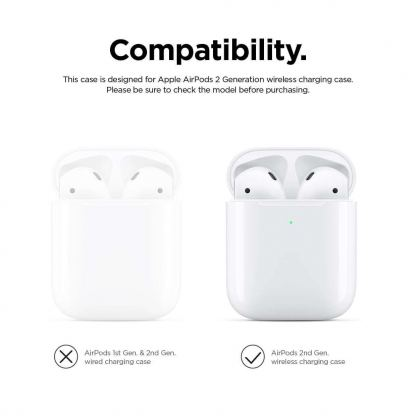 Elago Airpods Silicone Case - силиконов калъф за Apple Airpods 2 with Wireless Charging Case (бял-фосфор) 4