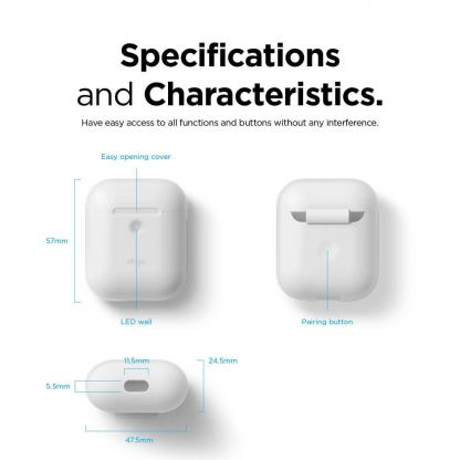 Elago Airpods Silicone Case - силиконов калъф за Apple Airpods 2 with Wireless Charging Case (бял-фосфор) 6