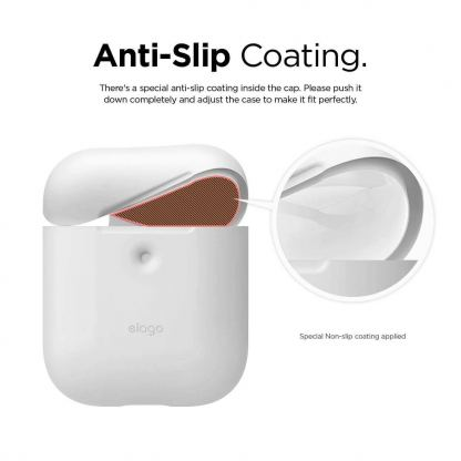 Elago Airpods Silicone Case - силиконов калъф за Apple Airpods 2 with Wireless Charging Case (бял) 7