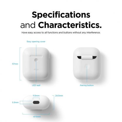Elago Airpods Silicone Case - силиконов калъф за Apple Airpods 2 with Wireless Charging Case (бял) 8