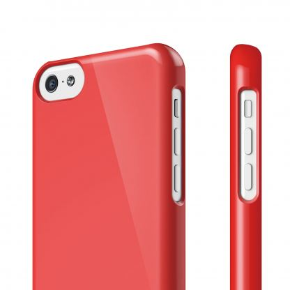 Elago C5 Slim Fit 2 Case + HD Clear Film - кейс и HD покритие за iPhone 5C (червен) 2
