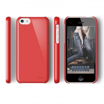 Elago C5 Slim Fit 2 Case + HD Clear Film - кейс и HD покритие за iPhone 5C (червен) 3
