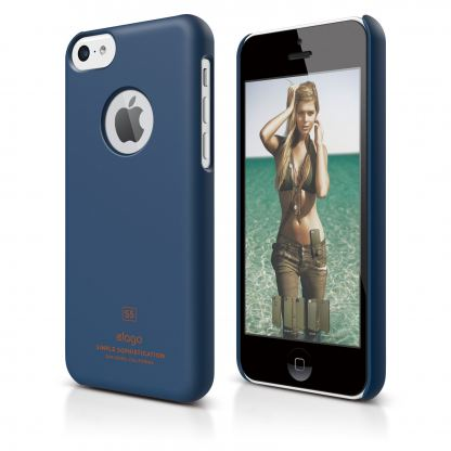 Elago C5 Slim Fit Case + HD Clear Film - кейс и HD покритие за iPhone 5C (тъмносин)