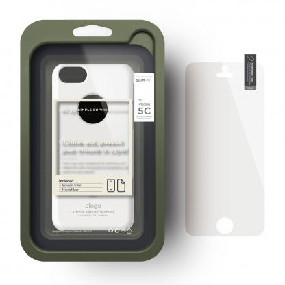 Elago C5 Slim Fit Case + HD Clear Film - кейс и HD покритие за iPhone 5C (бял-лъскав) 2