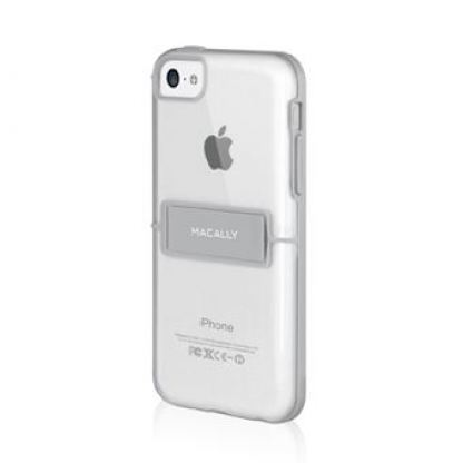 Macally HardShell Kickstand - хибриден кейс и поставка за iPhone 5C (прозрачен) 2