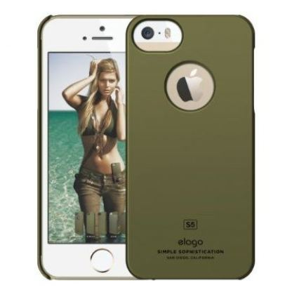 Elago S5 Slim Fit Case + HD Clear Film - кейс и HD покритие за iPhone 5, iPhone 5S (зелен-комуфлажен) 2