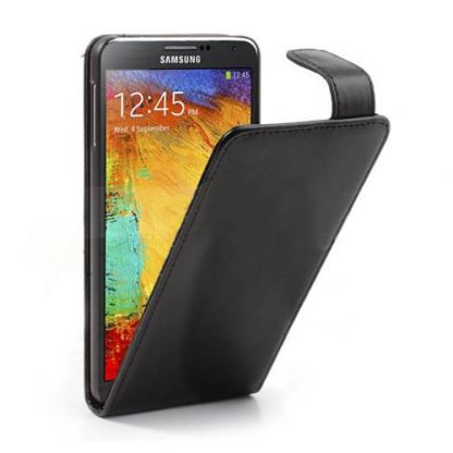 Leather Flip Case - кожен калъф за Samsung Galaxy Note 3 N9000 (черен)