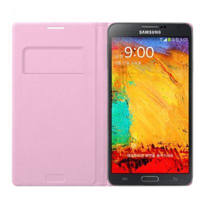 Samsung Flip Wallet Cover - оригинален кожен калъф за Samsung Galaxy Note 3 N9005 (розов) 2
