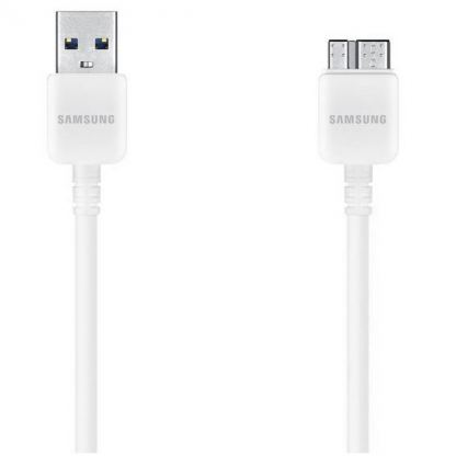 Samsung USB 3.0 DataCable - оригинален кабел за Samsung Galaxy Note 3 (150 см.) - бял